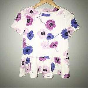 ELLE White Peplum Poppy Blouse Size XS